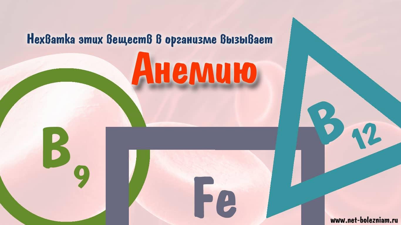 Нехватка железа, фолиевой кислоты и витамина В12 может стать причиной анемии.