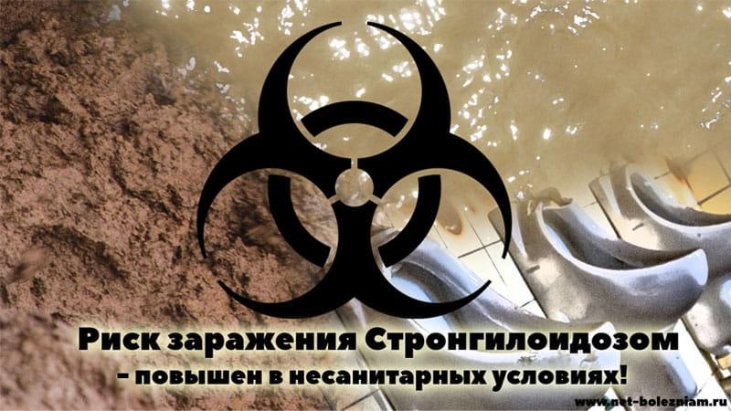Риск заражения стронгилоидозом - повышен в несанитарных условиях!